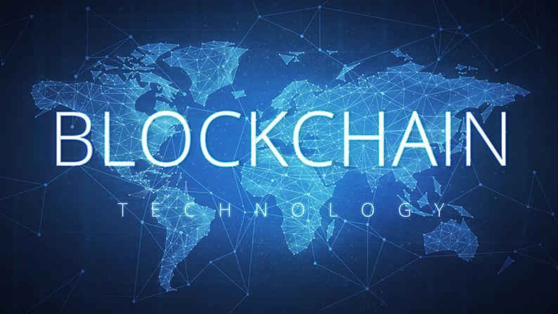 Blockchain written over digital theme map of the world